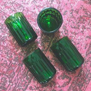 EMERALD GREEN GLASS TUMBLER GLASSES SET OF 4